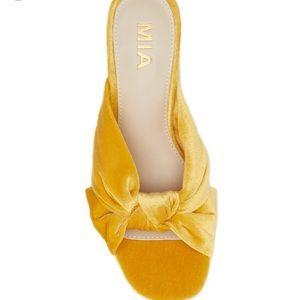 MIA Women's Yellow Sonny Velvet Block Heel Sandal